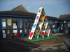 The giant castle or tower of cards has been installed outside St Marks School, Haverfordwest.