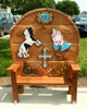 Carved Oak Bench for outside A&E, Withybush Hospital, Haverfordwest, with the Gypsy / Traveller unit at Pembroke School