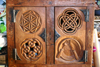 Medieval style carved Oak chest with traditional chip carving and knotwork designs and hand forged Iron hinges